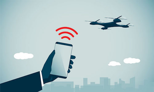 An illustration of a cellphone tracking a drone.